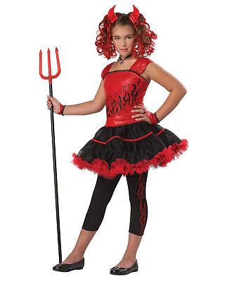 Girls Sassy Devil Child Costume Red Dress Leggings Horns Demon Tutu S M L (Demon Girl Costume)