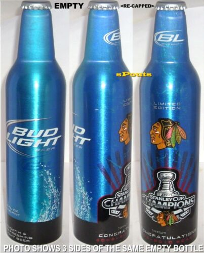 2010 NHL CHICAGO BLACK-HAWKS STANLEY CUP ICE HOCKEY BUD ALUMINUM BOTTLE BEER CAN