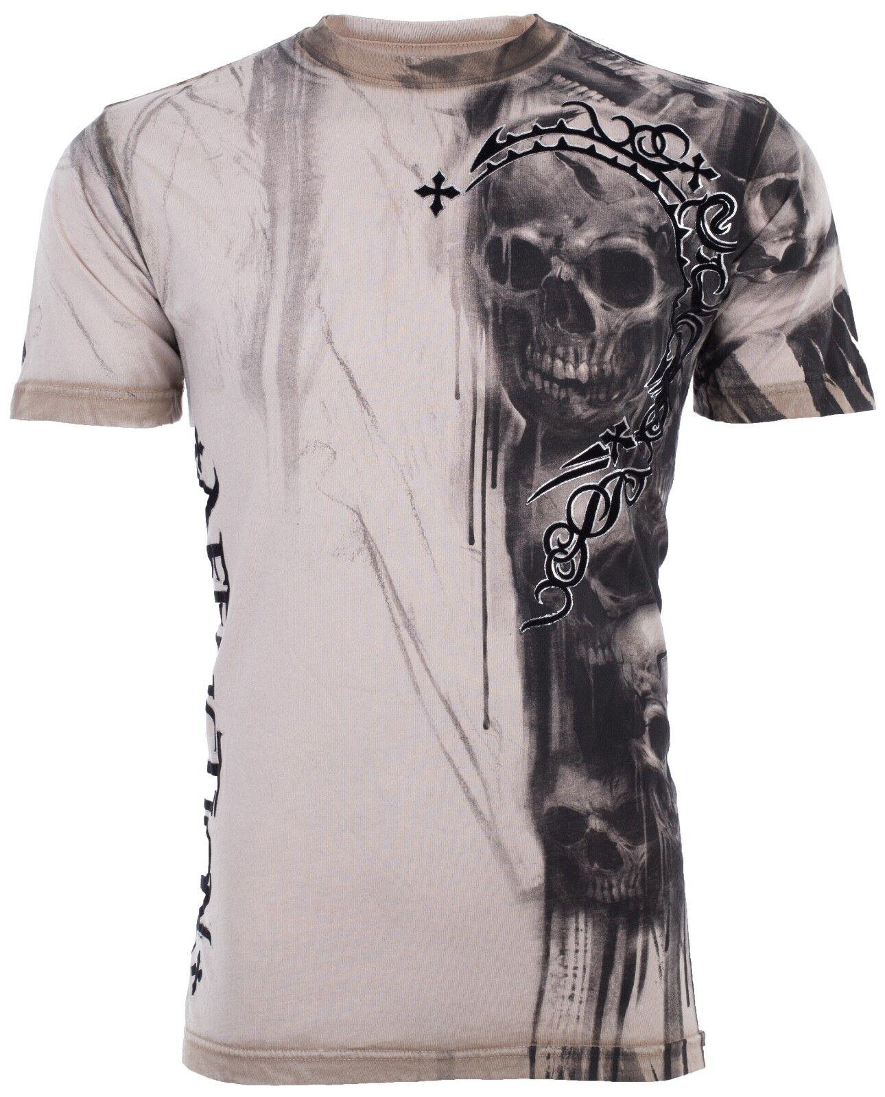 Купить AFFLICTION Men T-Shirt WALKING DEAD Skulls Tattoo Motorcycle Biker UFC Jeans $58