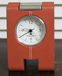 MICHAEL GRAVES Saddle Stitched Faux Leather Mantel Clock - Working Condition