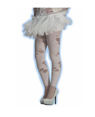 Women's Tattered Ghost Costume Leggings Torn White Ballerina Punk