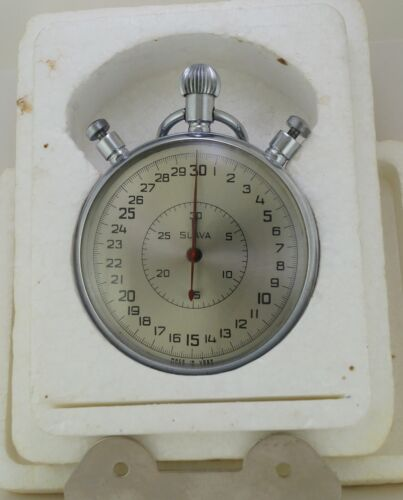 Vintage Mechanical Stopwatch SLAVA in Box made in USSR Soviet Russian