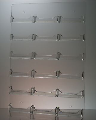 Clear Acrylic 18 Pocket Wall Mount Business Card Holder Display