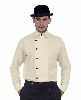 Mens Side-Button Victorian Steampunk Western Cosplay Linen Costume Shirt 1910's (Mens Western Costumes)