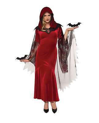 Adult Bat Mistress Vampire Halloween Costume Red Hooded Dress Spooky Theme - Adult Theme Halloween Costumes