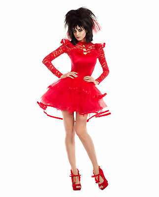 Adult Women's Beetlejuice Lydia Deetz Bridal Outfit Halloween Costume Goth Dress