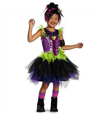 Girl's Punk Pop Rock Star Diva Costume Dress w Armband & Headpiece Child M - Rock Star Costume Girl