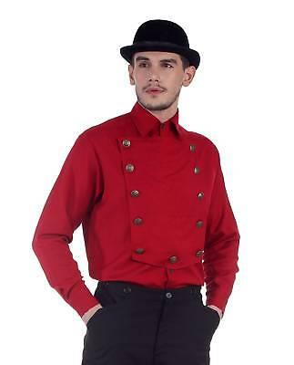 Steampunk Man Costume (Men's Victorian Steampunk Airship Captain Red Costume Shirt Bib Front)