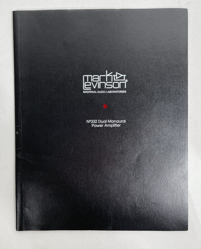 Mark Levinson No. 332 Power Amplifier Owners Manual Instructions Original 333