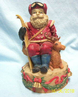 Collectible Santa Claus Figurine with Deer & Skiis 1990's Heavy Resin