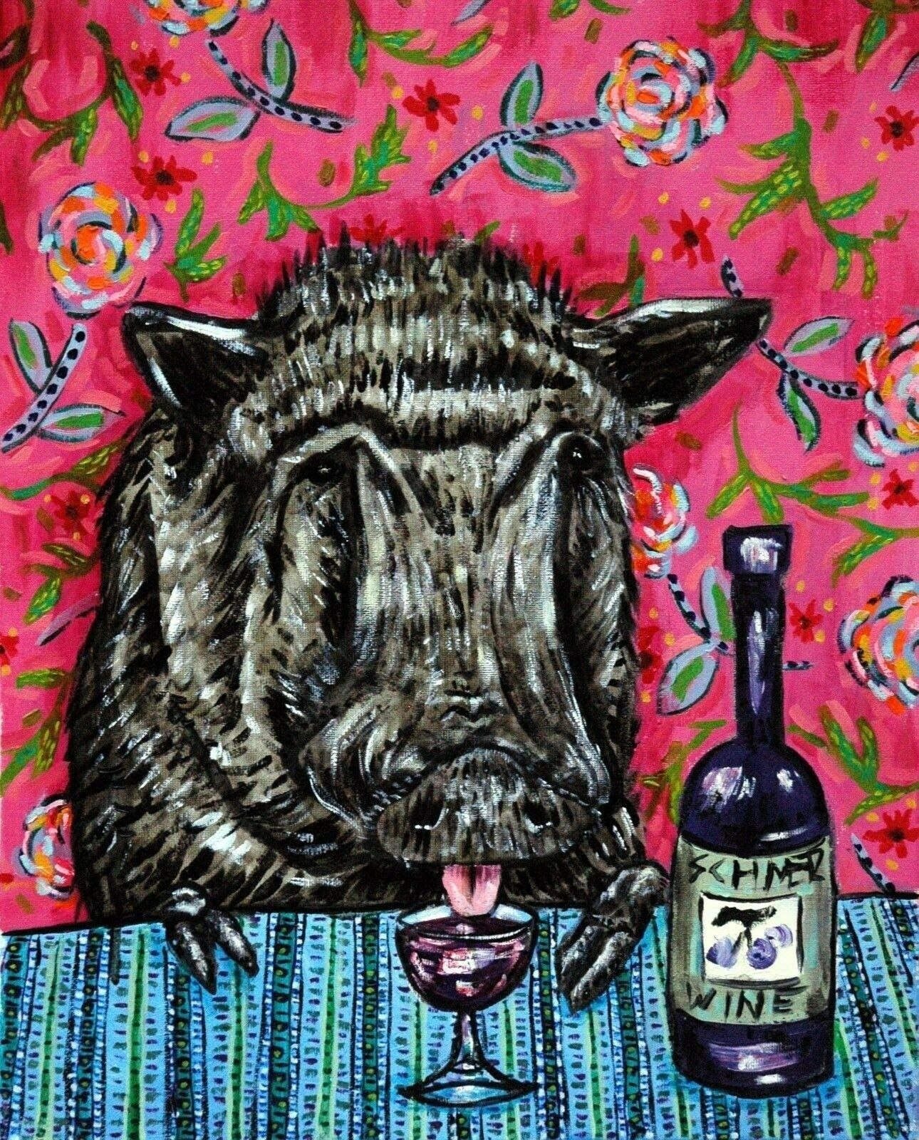 javelina wine 8x10  art print animals modern
