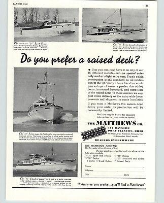 1941 PAPER AD The Matthews Motor Boat Company Yacht 34 Sport Cruiser 46' Sedan