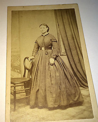 Antique Gorgeous Victorian Fashion Woman Superb Dress! C.A Green CDV Photo 1860s