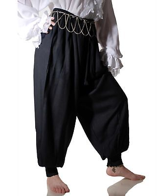 Men's Pirate Harem Costume Pants Renaissance Faire Gypsy Black Puffy Cuffs - Renaissance Faire Costumes Men