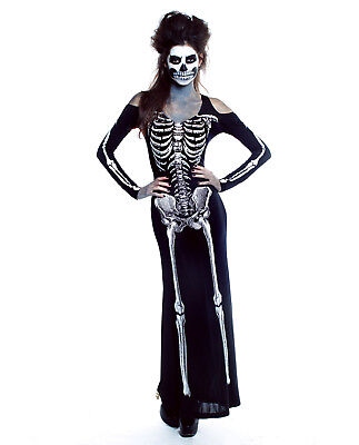 Womens Skeleton Bones Dress Costume Halloween Long Zombie Couples Day of - Costumes Halloween Couple