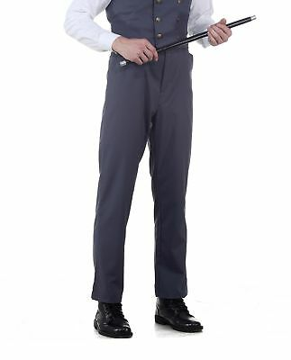 Mens Classic Victorian Steampunk Western Costume Pants Trousers Gray Grey (Mens Western Costumes)