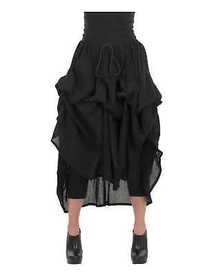 Women's Renaissance Pirate Wench Costume Black Parachute Skirt Adjustable Ties - Women Pirate Costumes
