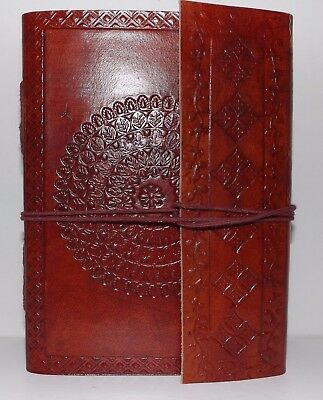 Embossed Mandala Brown Leather Bound Journal w/Tie Closure 5 X 7 Inch