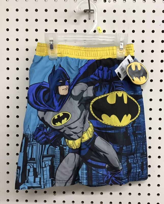 BATMAN TODDLER SWIMMING TRUNKS SIZE 3T COLOR YELLOW BLUE BLACK