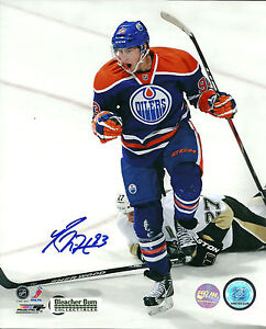 Ryan-Nugent-Hopkins-8x10-Photo-Hockey-Edmonton-Oilers-COA-Signed-NHL-1st-Goal
