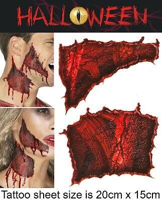 Halloween Makeup Ripped Skin (Halloween Zombie Scars Tattoos Fake Ripped Skin Scab Wound FX Face Make Up Kit)