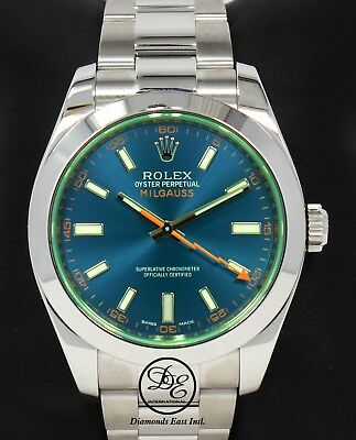 Rolex Milgauss 116400GV Oyster Perpetual Z Blue Dial Green Crystal Watch *MINT*