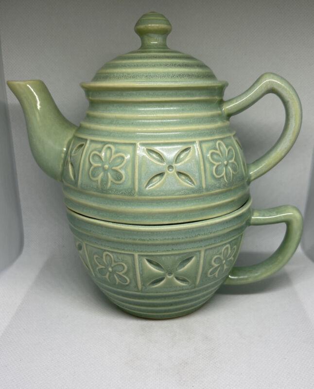 Hallmark Kimberly Hodges Single Serve Teapot & Mug Denbi Cut Green Floral MCM