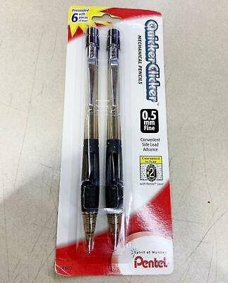 New Pentel Quicker Clicker .5mm Mechanical Pencils 2-pk Black Barrels Pd345bp2