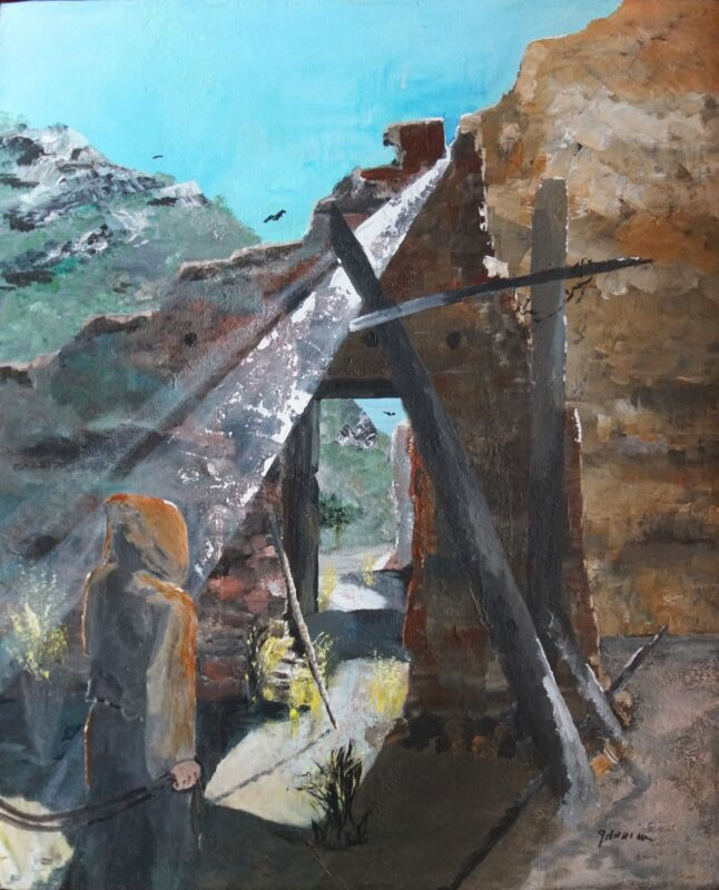 """Acrylic Painting """"Adobe Wall with Man""""."""