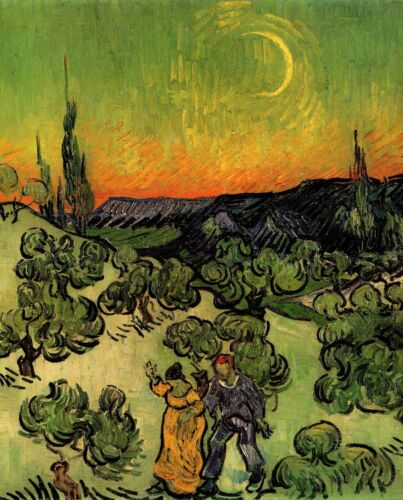 Print - Landscape with Couple Walking and Crescent Moon by Vincent van Gogh-1890