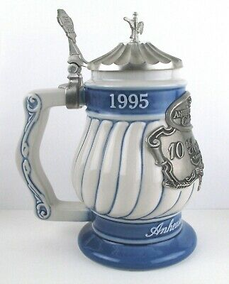 Collectible Anheuser Busch 10th Anniversary Lidded Stein 1995 - 2005 - Pre-owned