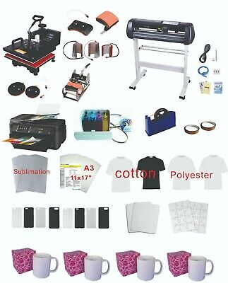 "34"" Plotter  8in1 15x15"" Pro Sublimation Press Epson 11""x17"" WF-7710 Printer Kit"