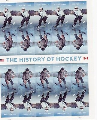 THE HISTORY OF HOCKEY STAMP SHEET -- USA #5252-#5253 FOREVER 2017