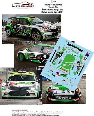 DECALS 1/18 REF 2260 SKODA FABIA RALLY2 MIKKELSEN RALLYE MONTE CARLO 2021 WRC R5