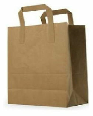 Medium Brown Kraft Paper Takeaway / Restaurant SOS Carrier Bags x 100