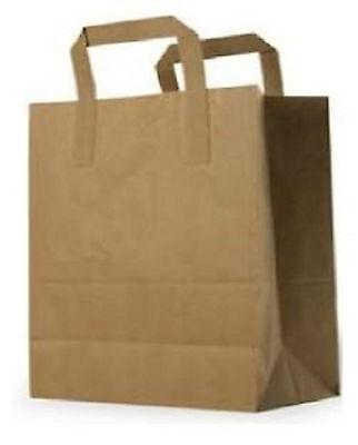 Medium Brown Kraft Paper Takeaway / Restaurant SOS Carrier Bags x 100