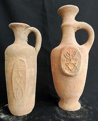 2 pcs. Biblical Antique Jugs Holy Land Jerusalem Clay Pottery Menorah David Star
