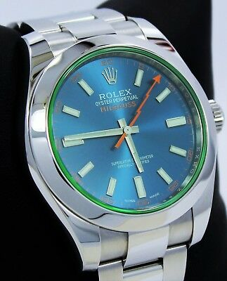Rolex Milgauss 116400GV Oyster Perpetual Z Blue Dial Green Crystal PAPERS *MINT*