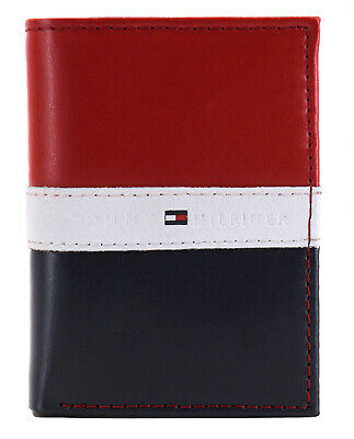 Tommy Hilfiger Men's Premium Leather Trifold Wallet Rfid Red Navy 31TL110022