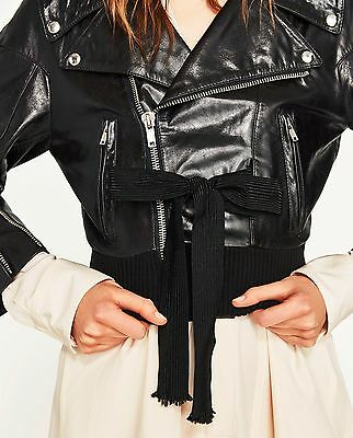 ZARA women SS 2017 STUDIO LEATHER JACKET BLACK SIZES  M-L REF. 0521/041 $399 for sale  Shipping to United States
