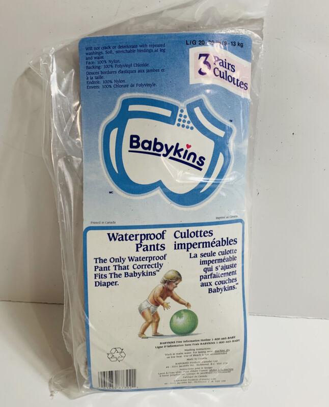 3 Pairs Vintage Babykins Waterproof Pants Reusable Sz L (20-30lb) Brand New