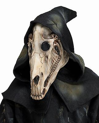 Horse Skull Skeletal Latex Animal Mask With Attached Hood Costume Accessory](Horse Mask Latex)