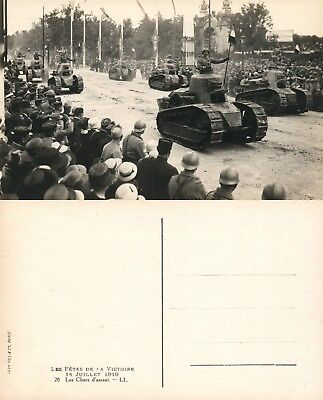 TANKS AT WWI VICTORY PARADE IN FRANCE REAL PHOTO POSTCARD ANTIQUE RPPC