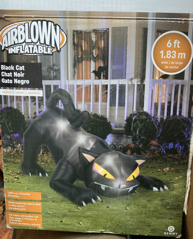 Gemmy 6 FT BLACK CAT INFLATABLE AIRBLOWN Animated, Lights Up Yard Decor