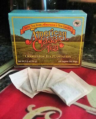 Classic Tea Bags Box - American Classic Tea Charleston Tea Plantation Box of 48 Tagless Tea Bags NEW