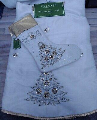 NWT NEW Celerie By Celerie Kemble Ivory Gold Tree Skirt Christmas stocking bling