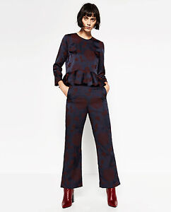 BNWT ZARA JACQUARD FLORAL TROUSERS & PEPLUM TOP SET SUIT SIZE LARGE UK 12 TO 14