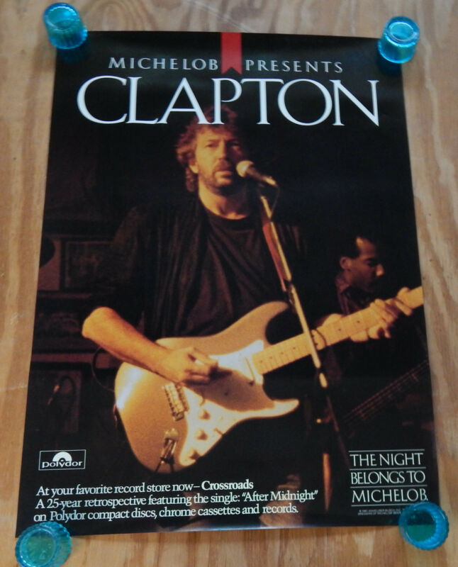 ERIC CLAPTON  -  CROSSROADS  -  ORIGINAL ROLLED ROCK PROMO POSTER (1984)