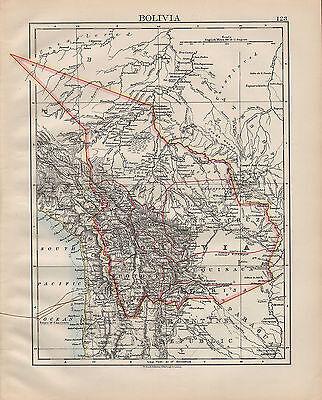 1900 VICTORIAN MAP ~ SOUTH AMERICA BOLIVIACOCHABAMBA POTOSI