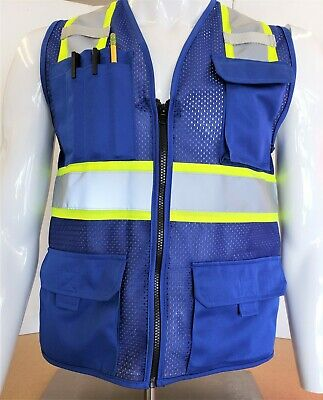 Two Tone High Visibility Reflective Blue Safety Vest X-small-5xl
